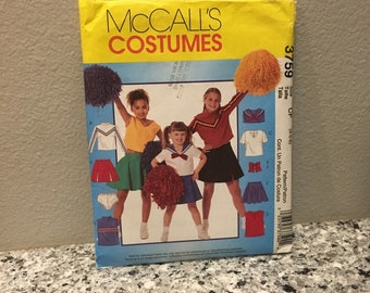 Cheerleader Halloween or little league sports team cheer costume pattern for girls, makes skirts, tops and panties, McCalls 3759 sizes 4 - 6