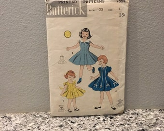 Toddler girl dress pattern vintage size 4T Butterick 7594 makes princess seam full skirt dress collar and sleeve options, flower girl dress