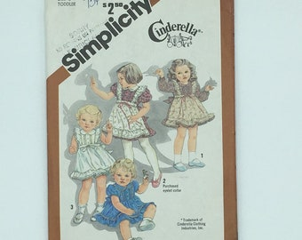 Toddler girls ruffled dress pattern with front tucks and gathered contrast apron, vintage 1981, Simplicity 5257, size 2, Cinderella Clothing