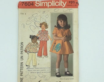 Toddler girls dress and pants pattern with peter pan collar, vintage 1976 Simplicity 7604, size 3, gathered yoke, 1970's style, retro kids