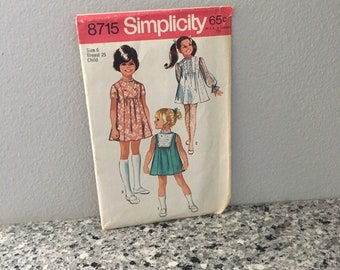Simplicity 8715 girls dress pattern with softly gathered front inset, size 6, Easter Dress, Flower Girl dress, Christmas Dress 1970s style