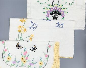 Vintage handmade embroidered table runners/ birds, butterflies, baskets/ dresser scarves/ linen or cotton/ crochet edges/ choose designs