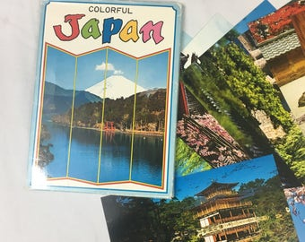 Vintage Postcards, Japan Postcards, Set of 15, In Case, Map of Japan, Color Brand, Unused Postcards, 6.78 x 4.66 postcards, 1980's, Kyoto