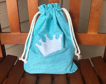 Ice princess fabric gift bag for Christmas gift, birthday, or baby shower drawstring bag, 12.5 x 10.5, gift for little girls