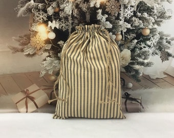 Christmas fabric gift bag, blue ticking primitive farmhouse style with rustic rope drawstring, 10.5 x 15