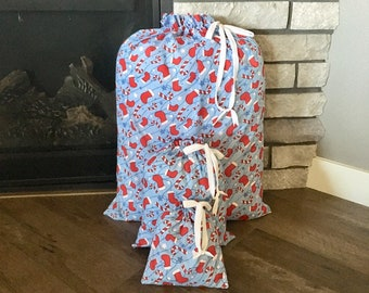 Christmas or Hanukkah fabric gift bags, reusable upcycled gift wrap for presents, large bag for big gifts, 3 sizes, sustainable zero waste
