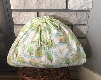Large baby shower or birthday fabric gift bag with train and tracks print, double drawstring cord, baby boy gift, Easter gift,  19.5 W x 15