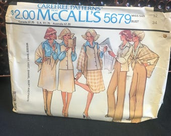 Ladies separates with vest vintage sewing pattern McCall's 5679 from 1977, uncut pattern, Size Miss 12 Bust 34