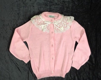 Vintage girls cardigan sweater, size 3, 1980s store stock, never worn, pink, lace collar, Tiny Tots brand, toddler clothes, Christmas gift