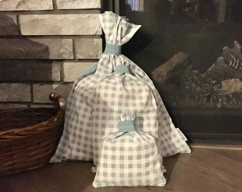 Farmhouse or cottage decor blue gingham check cloth gift bags for baby shower bridal shower or pillow covers, 3 sizes with contrast backing
