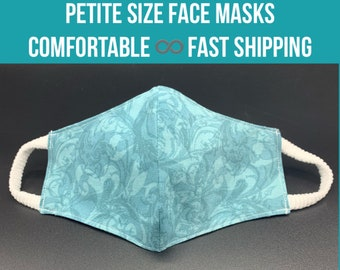 PETITE size floral cotton face mask, 3 designs, 3 layers filter pocket, mask bag, soft ear loops, washable cloth mask, ear loop sizes S M L