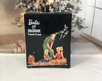 Vintage Barbie and Skipper Travel Trunk from 1965, Barbie doll carry case for closet and storage, Barbie Collector gift, Black vinyl case