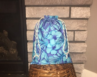 Hawaiian floral print drawstring fabric gift bag in aqua and royal blue, large bag for Easter, special birthday or occasions 12.5 x 17