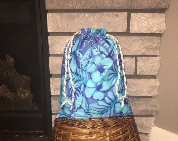 Featured listing image: Hawaiian floral print drawstring fabric gift bag in aqua and royal blue, large bag for Easter, special birthday or occasions 12.5 x 17