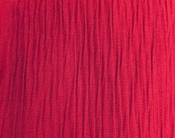 Vintage 1970's fabric remnant polyester crinkle knit, wine red color, 1 + Yard, 58 Wide