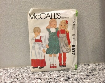 Toddler girls vintage pattern, jumper blouse and apron, McCall's 6877 size 4 from 1979, long or short optional ruffle, standing collar