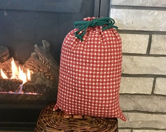 Red check flannel Christmas fabric gift bag with drawstring, large presents 12.5 x 18, reusable gift wrap, zero waste, stress free wrapping