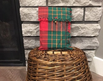Plaid Christmas fabric gift bag for a book or tablet cover 7 x 10 with vintage metal gold color button, reusable gift wrap, upcycled cloth