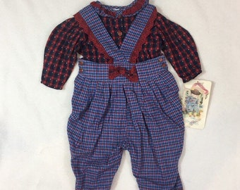 Baby girl overalls, shirt and jumper set, vintage 1980's never used, Mouse Feathers brand, Size 18 months, baby shower gift, boho style