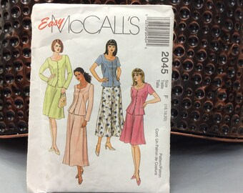 Plus size two piece dress pattern McCall's 2045 1999 princess seams flare skirt long or short size 16 18 20 easy sewing pattern partial cut