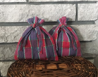 Beautiful plaid fabric gift bags set of 2 size 7 x 7.5, small woven cloth bags for Valentines Day, birthday, reusable gift wrap, zero waste
