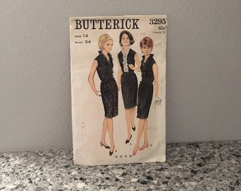 Sleeveless dress pattern with eased slim skirt and ruffle extending to hem, vintage 1960's Butterick 3295 Size 14 bust 34 cocktail dress