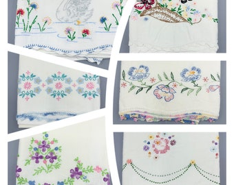 Cut and Craft Embroidered vintage pillowcase singles with crochet lace edges, choose design, standard sizes