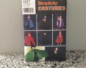 Childrens Halloween costume pattern, vampire, magician, king, knight, devil, witch, Red Riding Hood, or bat, Uncut Simplicity 5927 Size S-L