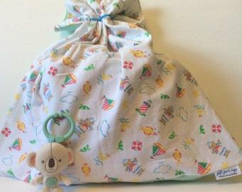 Baby Gift Bag, Flannel Gift Bag, Sailor Theme, Baby Boy, Baby Shower Gift Bag, Fabric Gift Bag, Cloth Gift Bag, Recycled Bag, Large Gift Bag