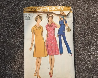 Dress and tunic pants vintage 1971 separates sewing pattern, Simplicity 9579, 1970's style for costume or collection, Size 14.5 bust 37