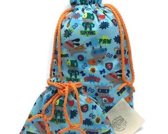 Super dogs flannel fabric gift bags with double drawstring cord, 9 x 15.5 or 9 x 7, dog lover or pet gift, baby shower, birthday, pajama bag