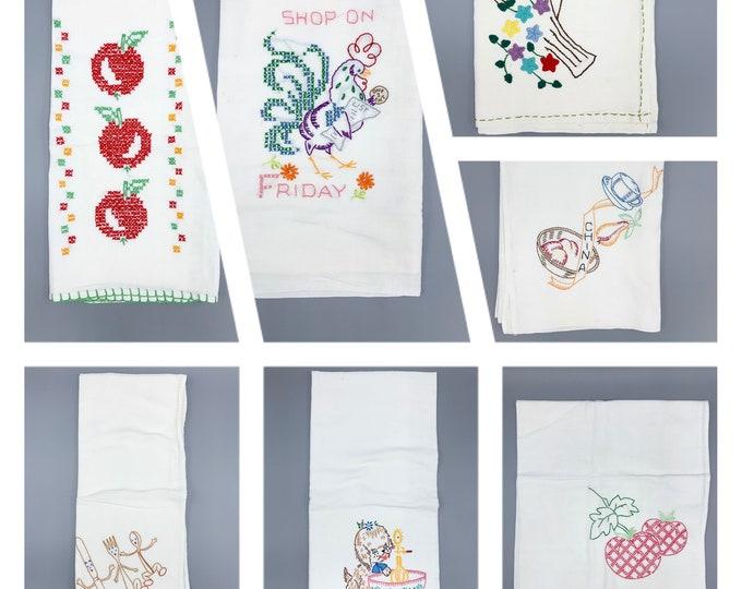 Featured listing image: Vintage flour sack embroidered large dish towel singles, farmhouse, rustic, primitive, kitchen decor