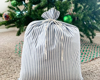Farmhouse style decor blue striped fabric gift bags, sustainable reusable gift wrap, rustic style cloth bags for presents or decor
