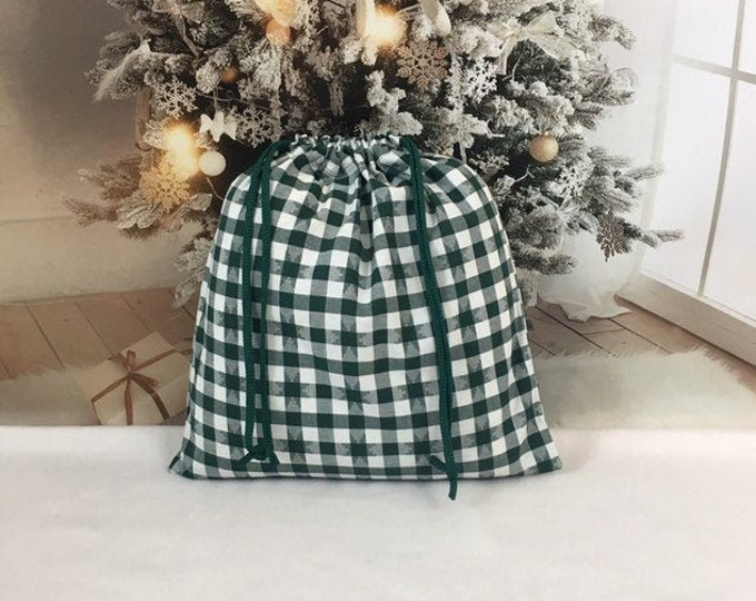 Featured listing image: Large Christmas fabric gift bag farmhouse style, green buffalo check star pattern, 15 x 15.5 with double drawstring, reusable sustainable