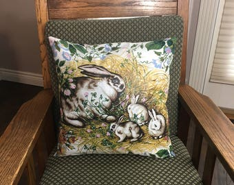 Easter bunny design throw pillow cover for holiday or nursery decor, rabbits flowers vintage style, Easter Gift Idea, 16 x 16 cushion cover