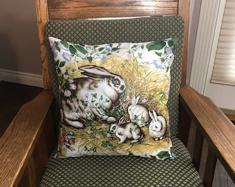 Bunny design pillow cover for Easter or nursery decor, rabbits flowers vintage style, Easter Gift Idea, 16 x 16 cushion cover throw pillow