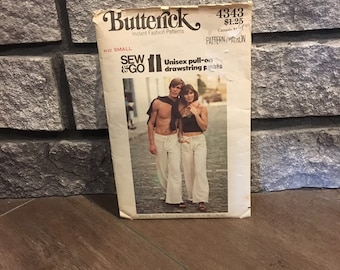1970's Unisex Drawstring Pants Pattern, Butterick 4343, Groovy, Matching Pants, Size Small, 70's Style, Vintage Patterns, Sewing Pattern