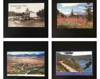 Vintage ephemera souvenir postcards/ Washington State/ set of 4/ 1889 photo print Elisha Ferry Inauguration Day/ Deception Pass