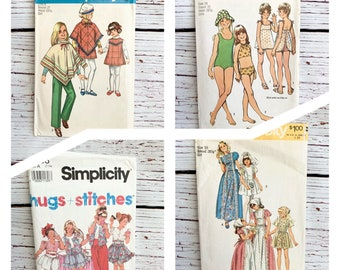 Vintage girls sewing patterns by Simplicity/ sizes 7 - 14/ poncho/swim suit/ dresses/ shorts/ pants and more
