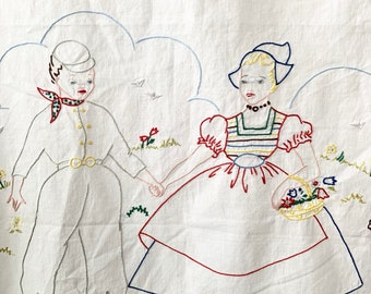 Vintage embroidered Dutch wall hanging/ Holland Theme/ small curtain/ Farmhouse decor/ Kitchen decor frame