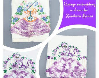 Southern Belles hand crochet embroidered flowers and lace edges vintage pillowcases, singles, choose design, standard sizes