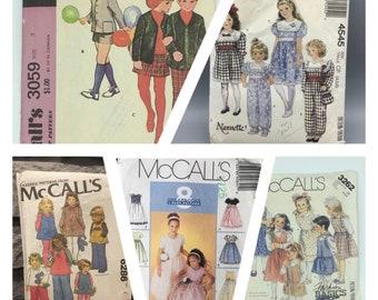McCalls Toddler vintage patterns, 3059, 4545, 6286, 9284, 3262, Sizes 2T - 6, dresses, jumpers, pants, jackets, shorts