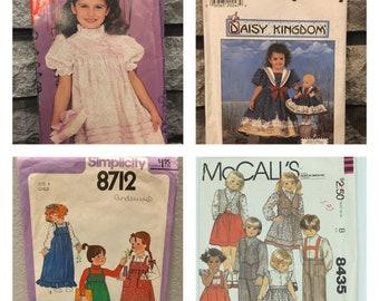 Vintage toddler kids sewing patterns/ dresses, jumpers, overalls/ sizes 3 to 6/ puff sleeves/ 1980's and 1990's patterns