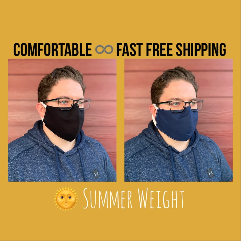 Favorite mask summer weight Black or Navy cotton face mask image 1
