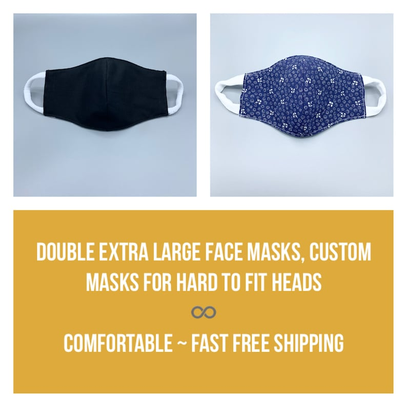 Double 2X Extra Large custom made face mask for hard to fit 3 image 0