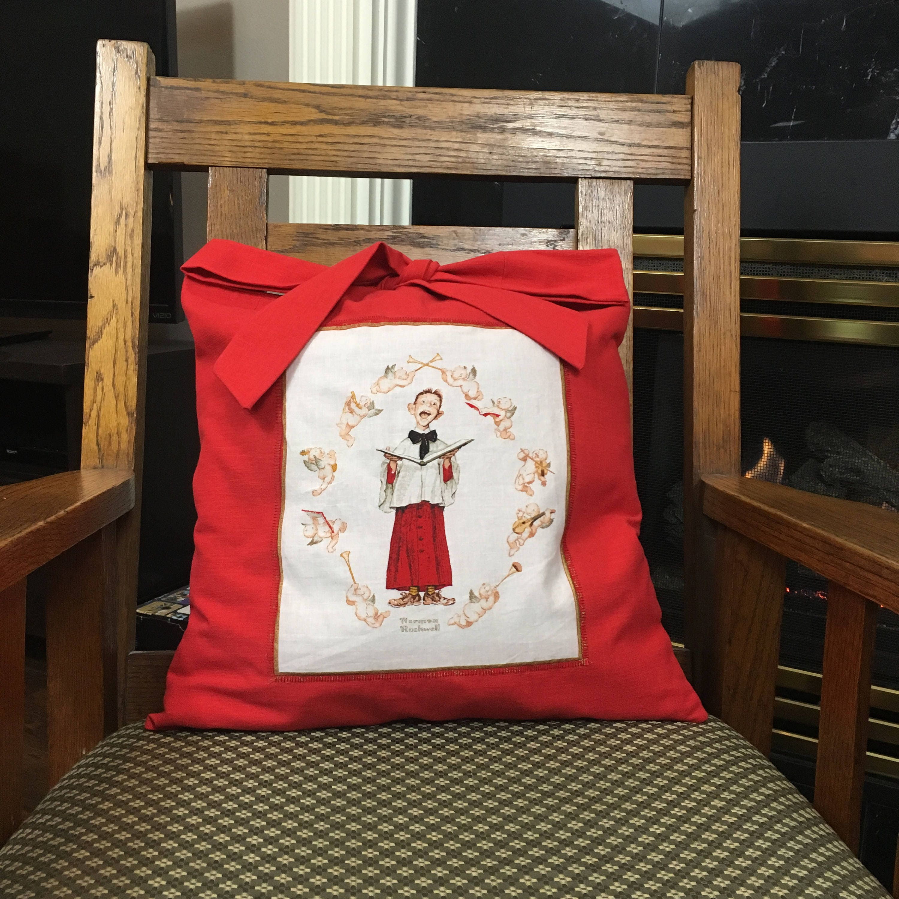 Christmas Pillow Cover with Norman Rockwell Print Applique, Parent ...