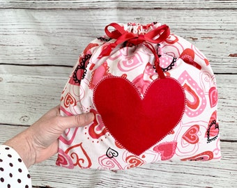 Drawstring fabric gift bags, heart appliqué, gift of love, storage bags, sustainable reusable gift bags, 11 x 11, double ribbon drawstring