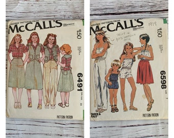 Vintage McCalls Girls sewing patterns from 1979/ 6491 vest, blouse, skirt and pants Size 10/ 6598 jumpsuit and wrap skirt size 7