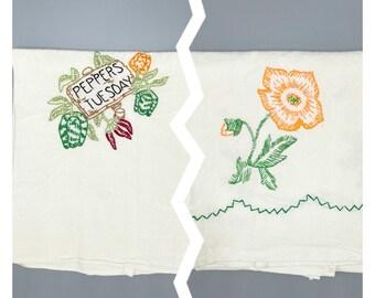 Vintage flour sack embroidered dish towels, cottagecore, farmhouse, rustic, primitive, kitchen decor