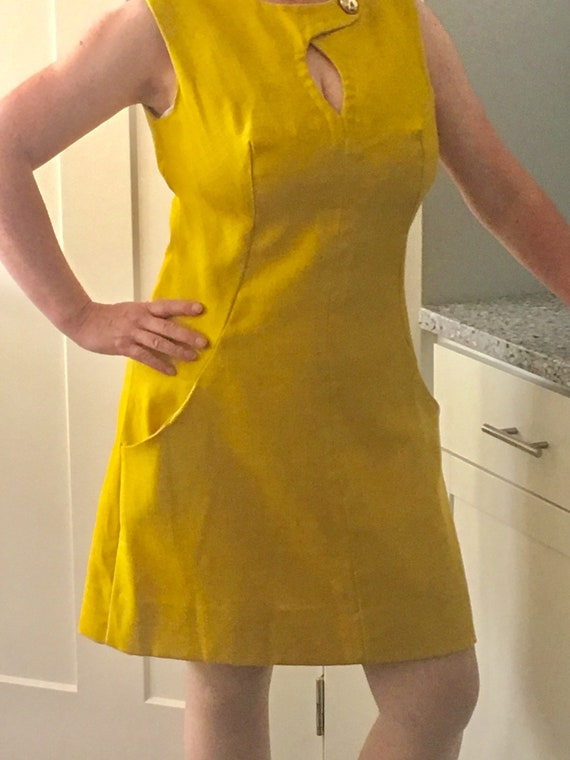 f49610a517a Mustard yellow 1960's vintage linen shift dress with peek   Etsy